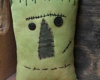 Small Halloween Frankenstein Primitive Pillow