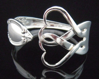 Fork Bracelet, Eco Friendly Recycled Silverware Jewelry in Intertwining Hearts Design Number Two