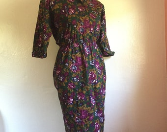 Vintage 1980's fuchsia floral greeen dress