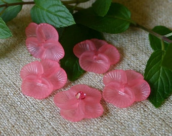 100pcs Pansy Frosted Lucite Flower Pink Beads Acrylic 20x5mm Iced For Lucite Flowers Earrings