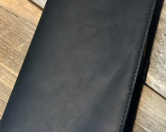 Black Leather Cover for Large Moleskine Notebook