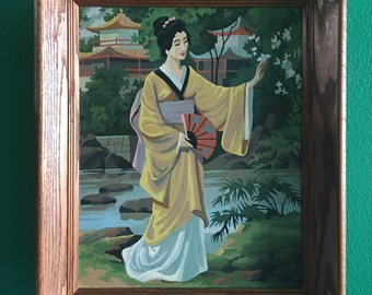 Beautiful Vintage Japanese Paint By Numbers in Solid Oak Frame