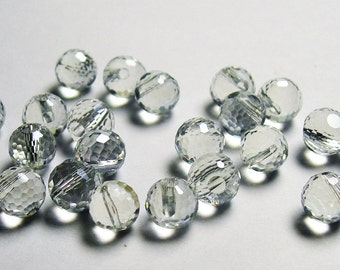 Crystal faceted 8mm round top drill  beads - 24 beads - AA quality - ice clear - TDC5