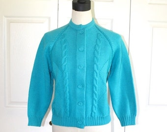 50% OFF SALE 1960s Turquoise Cardigan Sweater . Vintage Retro 50s 60s Virgin WOOL Cable Knit Jumper Cardy . LeRoy Knitwear . Sz Large