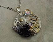 Steampunk Pocket Watch Plate Necklace, Black Rose