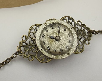 Steampunk Watch Face Bracelet, Victorian Style Antiqued Brass Chain