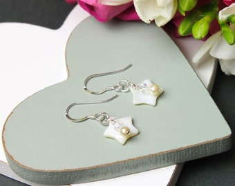 Mother Of Pearl and Crystal Earrings