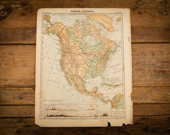 "1871 North America Map, 12"" x 9.5"", Antique Illustrated Book Page, 1800s"