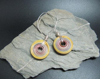Handmade Lampwork and Sterling Silver Earrings - Lichen and heather