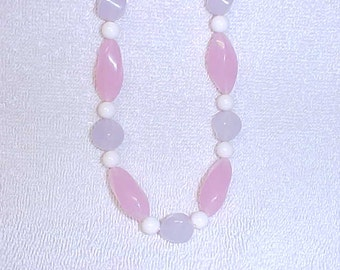 "Avon Bead Necklace 28""  Vintage 1990 Pink Lavender White"