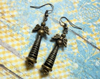 Striped Black and Brass Winged Earrings (2694)