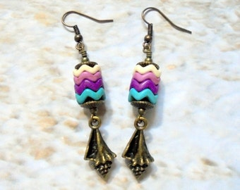 Turquoise, Plum, Lavender, Ivory and Brass Seashell Earrings (2729)