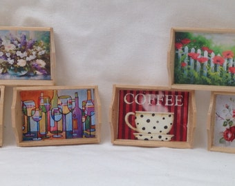 DOLLS HOUSE MINIATURES - 1/12th Hand Made Picture Tray x1. (6 options)