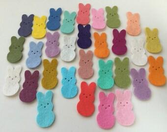 Wool Felt Die Cut Easter Bunnies 30 - 1-3/8 inch tall Random Colored. 3395