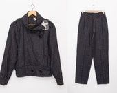Vintage Wool suit 80s jacket and trousers set