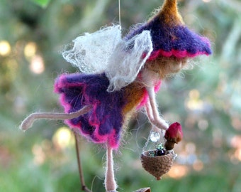 Fairy ornament Needle felted Waldorf inspired doll Holding a basket with rose Home decor