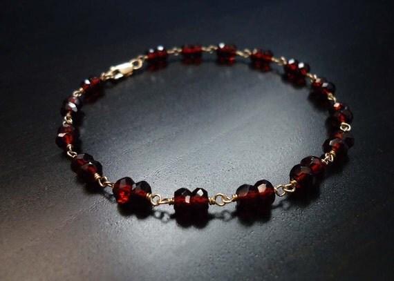 garnet bracelet gemstone jewelry january birthstone 14kt