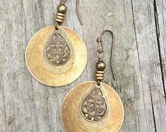 Brass Drop Boho Earrings, Antiqued Brass Jewelry
