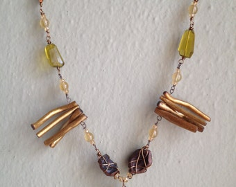 Bohemian Tribal Beauty Rustic Necklace Earth Tones OOAK Wire Wrapped Gold Spiral Necklace Lemon Quartz Crystal Hawaiian Kukui Shell Unique
