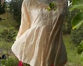 lady madonna upcycled silk + vintage lace top, maternity / breastfeeding boho blouse, M