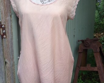poetic pink silk shift, long bohemian top, hippy mini, medium
