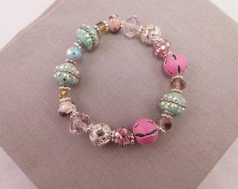 Beaded Bracelet, Bracelet, Statement Bracelet, Stretch Bracelet, Chunky Bracelet, Teal Pink Beaded Bracelet