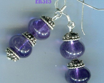 ER315 Amethyst Earrings with Bali Sterling Silver Accents
