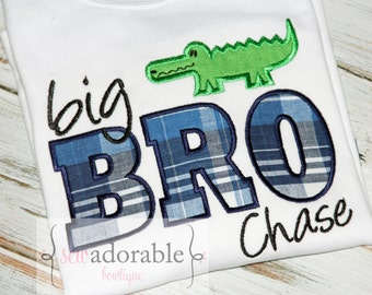 Big Brother Alligator Shirt - Perfect PREGNANCY ANNOUNCEMENT - FREE Monogramming