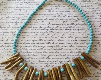 Golden Dyed Coral And Blue Howlite Beaded Bib Necklace
