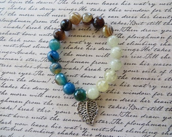 Faceted Brown Stripe Agate Blue Stripe Agate And Prehnite Beaded Stretch Bracelet With Leaf Charm