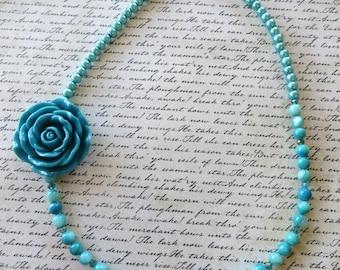 Light Aqua Acrylic Glass Pearls And Light Aqua Resin Rose Beaded Necklace