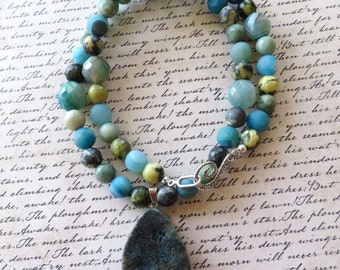 Blue Druzy Agate and Chrysoprase Beaded Necklace with Rough Dragons Vein Agate Pendant