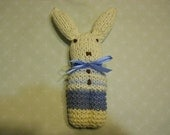 Knitted Bunny Toy in Medium and Light Blue Stripes, Bunny Toy, Stuffed Bunny Toy, Easter Bunny Toy