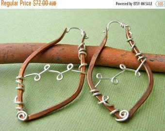 ON SALE Recycled Copper and Sterling Silver Leaf and Vine Hoop Earrings