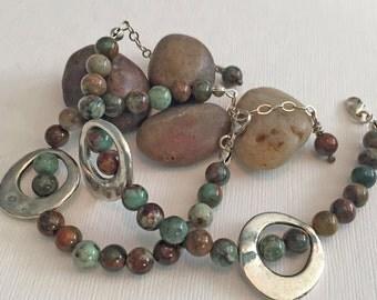 Green & Brown Jasper Silver Beaded Bracelet Set