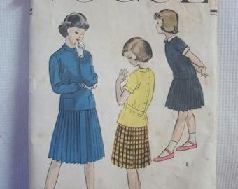 Vintage Vogue 1950s Girl's Two Piece Dress Pattern Size 12