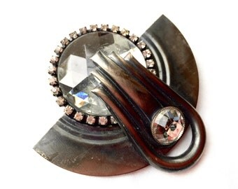 Art Deco Brooch Huge Faceted Rhinestone Dark Silver Pin Vintage Jewelry