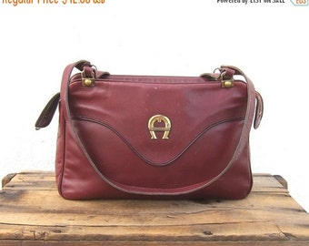 15% Off Out Of Town SALE SALE Vintage Distressed Wine Leather Medium Tote Bag By Etienne Aigner