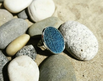 Denim Ring- 18x25 mm Antiqued  Stainless Silver Oval  Adjustable finger Ring