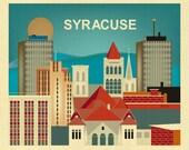Syracuse Ny Skyline Print, Syracuse Wall Art, Syracuse New York Print Gift, Upstate New York Print, Syracuse Office Art - style E8-O-SYR