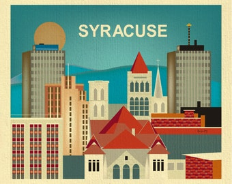 Syracuse Ny Skyline Print, Syracuse Wall Art, Syracuse New York Print Gift, Upstate New York Print, Syracuse Office Art - style E8-O-SYR