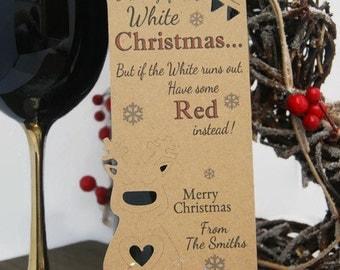 Christmas Gift tags Reindeer personalised Wine Bottle tag Set x4