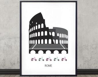 Rome, city poster, city print, Scandinavian design, Colosseum, wall art