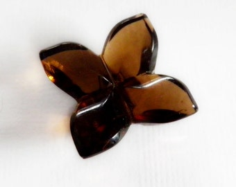 Vintage Brown Glass Button Four Leaf