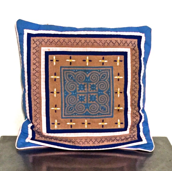 vintage quilt throw pillow 1960s blue embroidered pillow