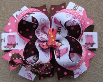 Cowgirl Hair Bow with Boots Center Rodeo Western Wear Boutique hair bow Pink Bandana Hair Bow Cute hair bow large boutique hair bow barrette