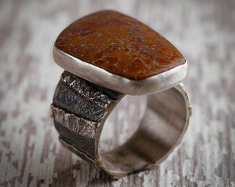 Fossilized Dinosaur Bone Heavily Textured Sterling Silver Ring, U.S. Size 12