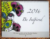 2016 WALL CALENDAR- Quotes calendar, wall calendar 2016, original art calendar, bright designs, gift under 25 dollars, gift for home