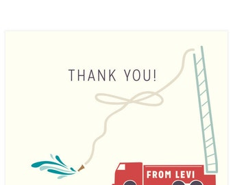 Firetruck Thank You Cards, set of 12 , envelopes & return address printing included