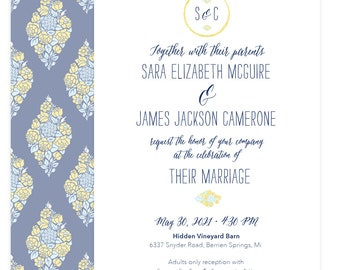 In the Garden floral wedding invitation suite; SAMPLE ONLY